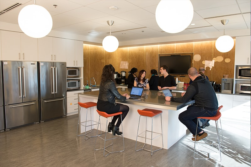 Our kitchen is a great place to catch up with coworkers and enjoy a bite while getting work done.
